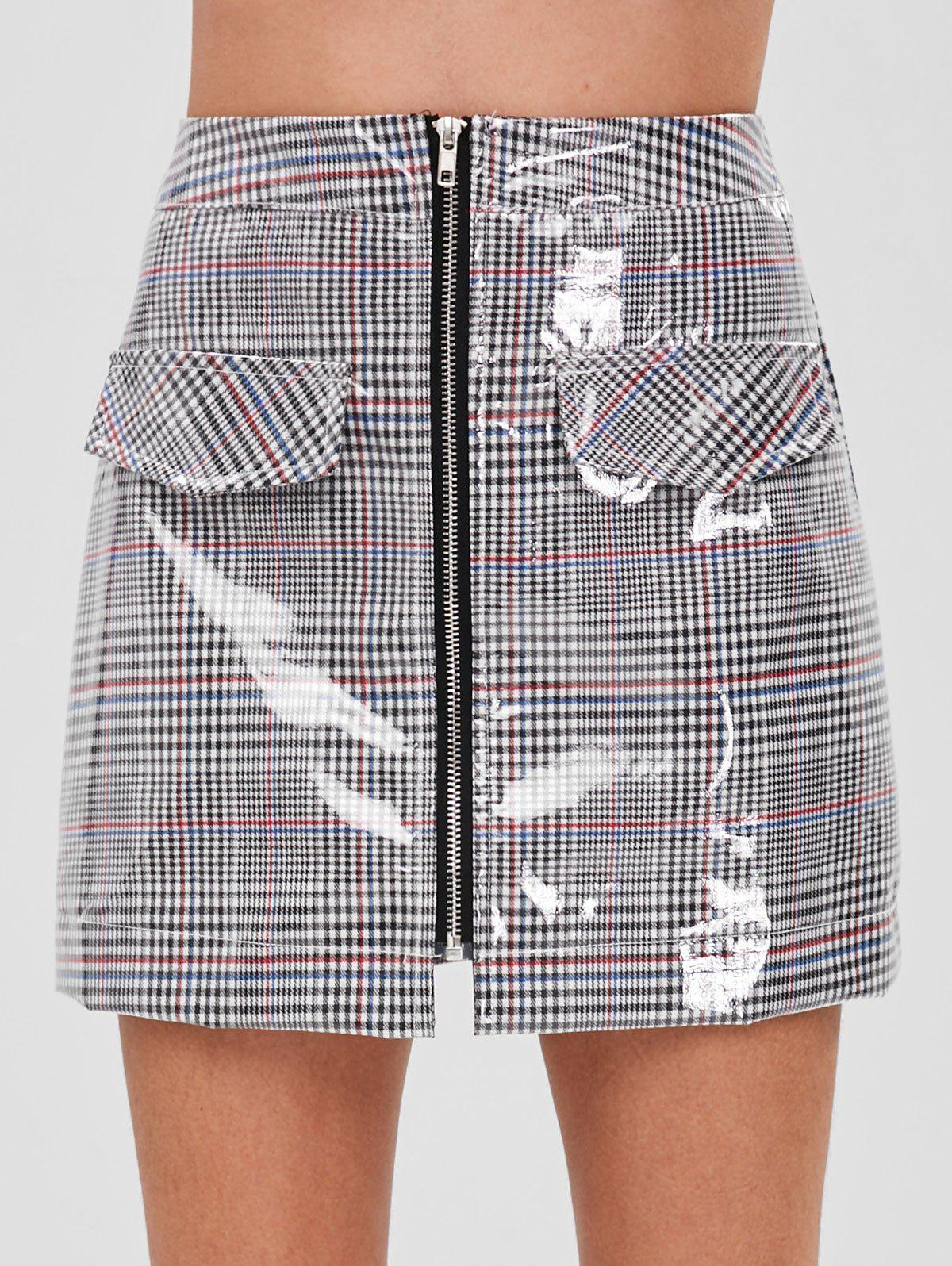 ZAFUL Faux Pockets Zip Front Plaid Skirt, Multi