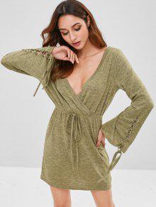 فستان محبوك من الدانتيل ZAFUL - السرخس الأخضر S