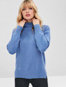 Slit Hem Hem Drop Shoulder Funnel Sweater - ردة الذرة الأزرق