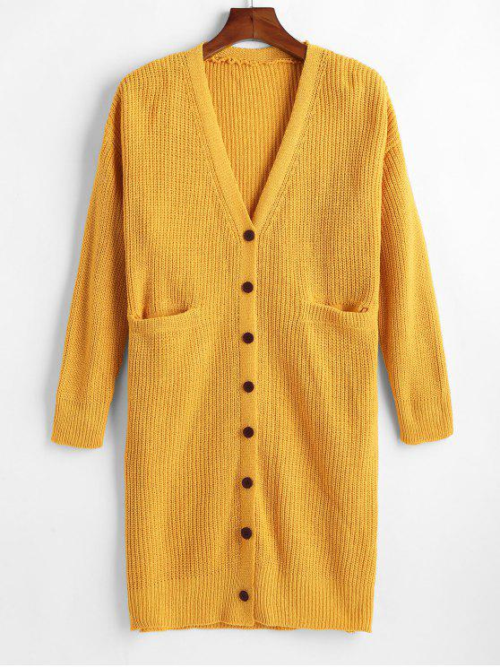 9db55a99ab7d 37% OFF  2019 Button Up Two Pocket Long Cardigan In BRIGHT YELLOW ...