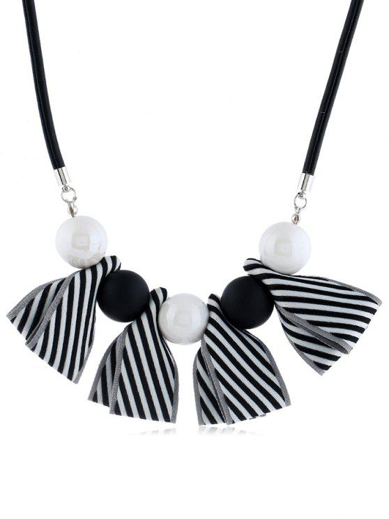 outfit Bowknot Ball Decor Pendant Necklace - BLACK