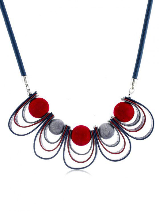 shop Ball Shape PU Leather Design Necklace - MULTI