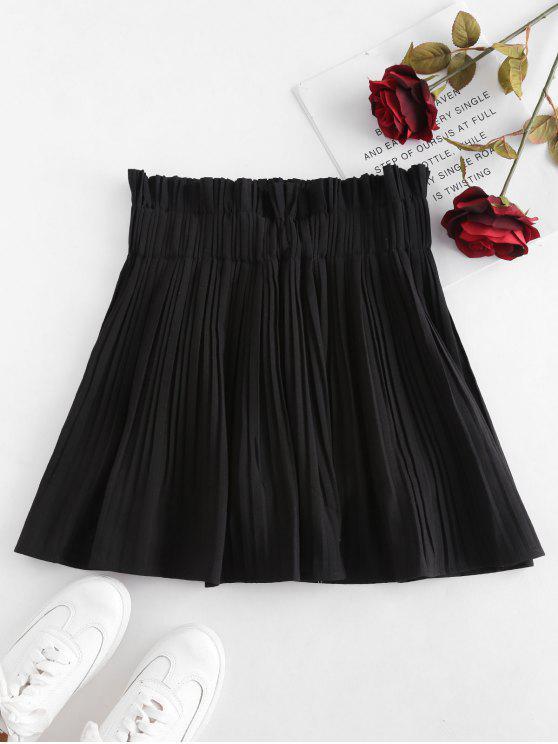 Mini saia plissada com calções interiores - Preto S