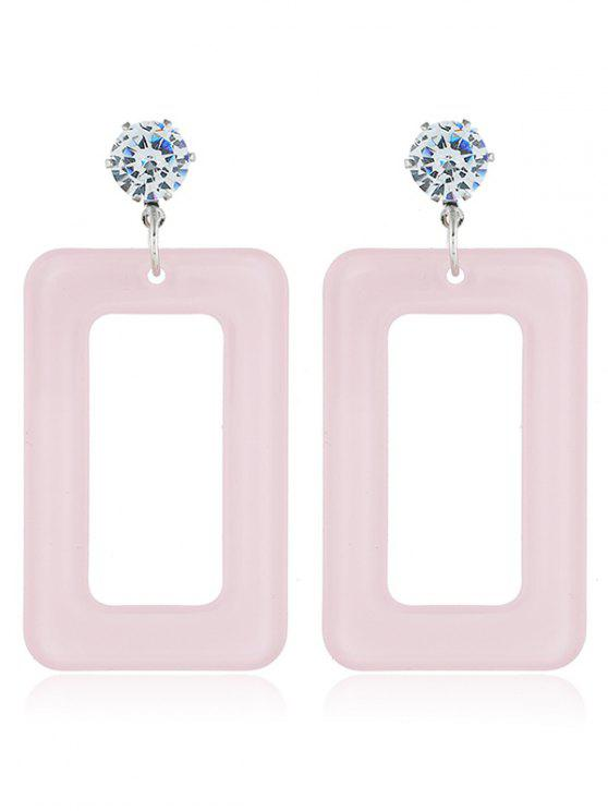womens Geometric Hollow Out Drop Earrings - LIGHT PINK