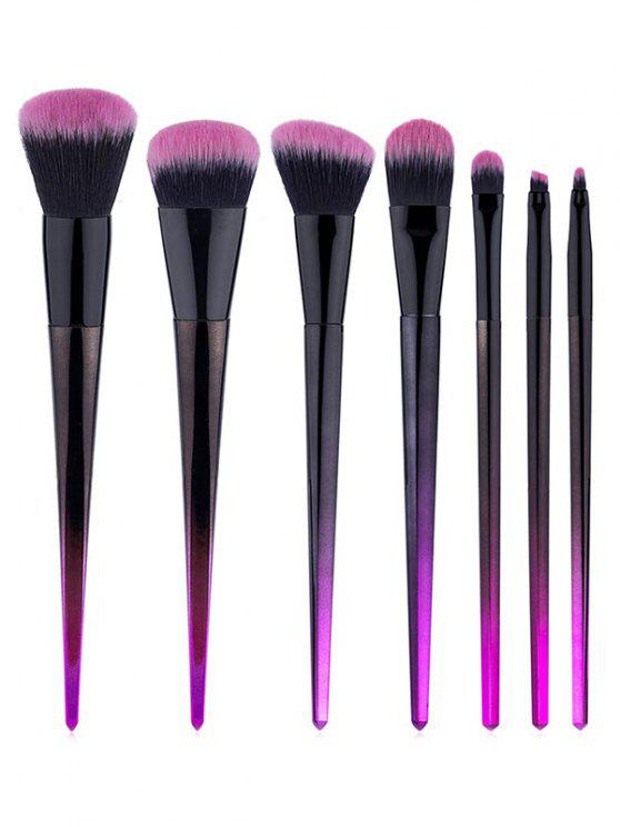 women 7 Pcs Rhombus Handles Fiber Hair Makeup Brush Set - BLACK REGULAR