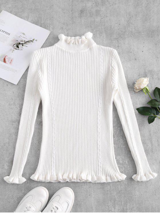 Camisola com acabamento frisado com nervuras - Branco Um Tamanho