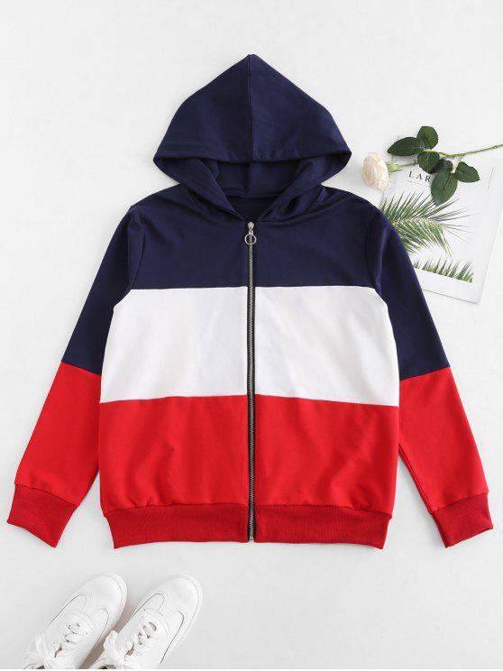 best Contrast Color Block Zipper Hoodie - MULTI L