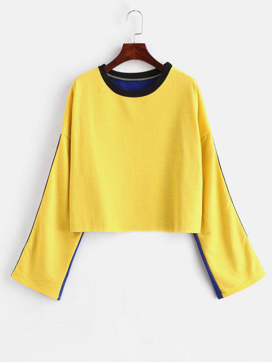 Raw Hem Side Gestreiftes Sweatshirt - Gelb M