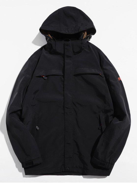 chic Solid Zip Windbreaker Jacket - BLACK XL