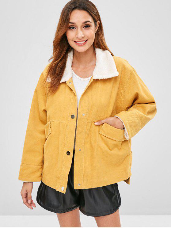 hot ZAFUL Snap Button Plain Corduroy Coat - SUN YELLOW M
