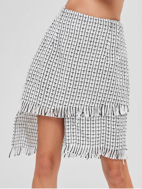 outfits ZAFUL Checked Frayed Asymmetric Skirt - WHITE L