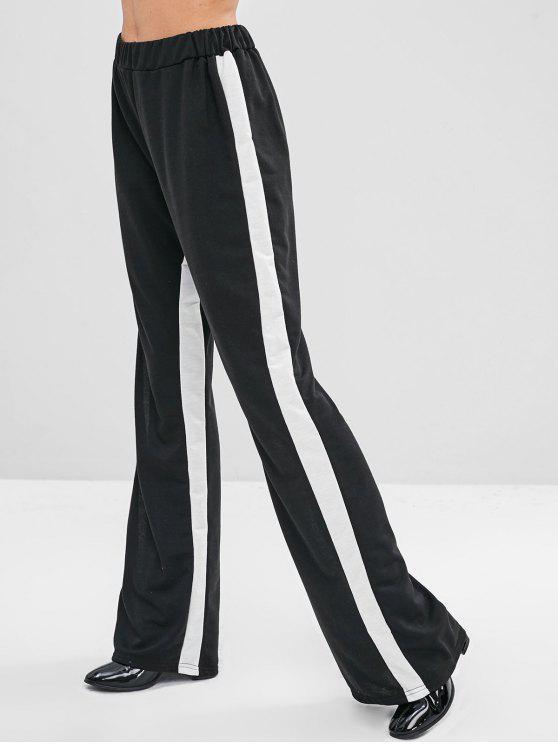 Elastische Taille Zweifarbige Kontrasthose - Schwarz S