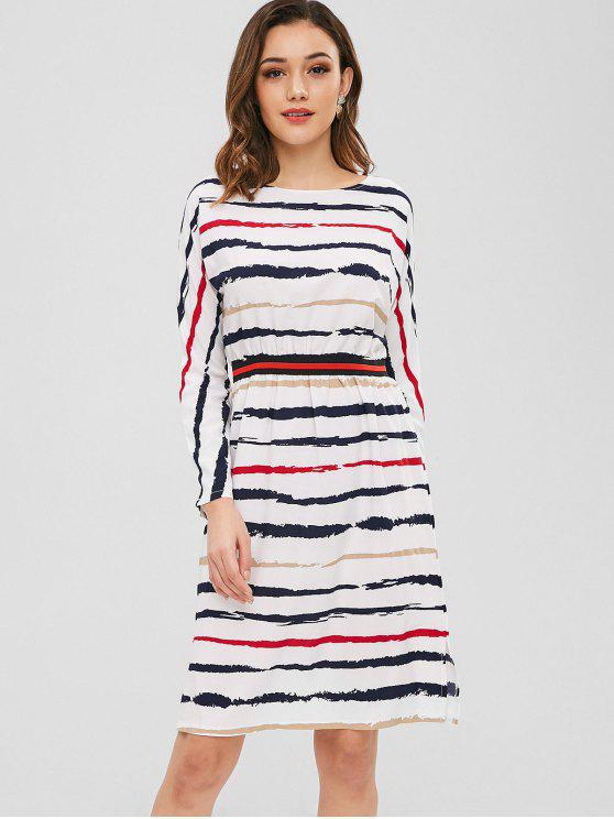 women Long Sleeve Slit Striped Dress - WHITE M