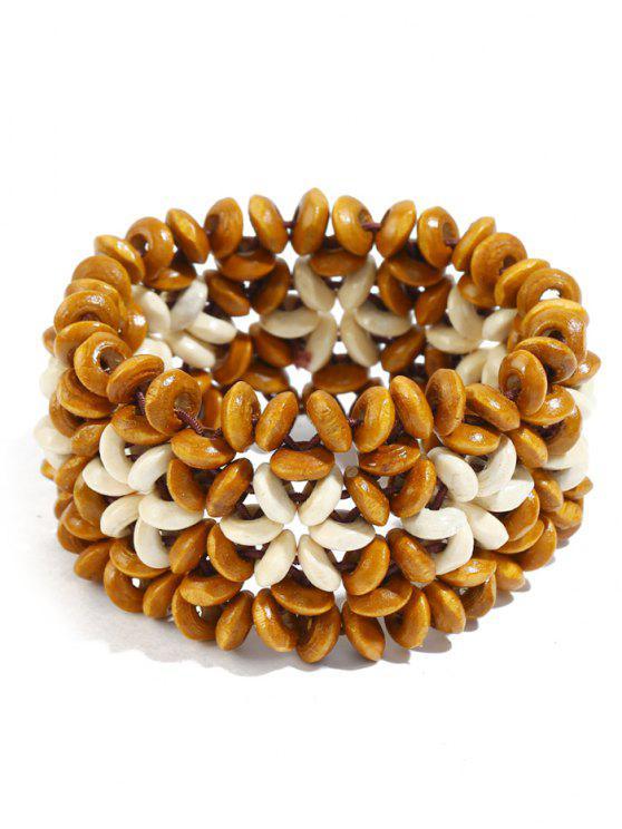 unique Ethnic Floral Pattern Beads Bracelet - ORANGE GOLD