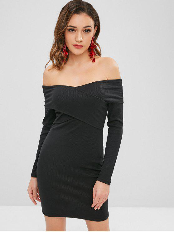 Vestido cruzado con hombros descubiertos - Negro S