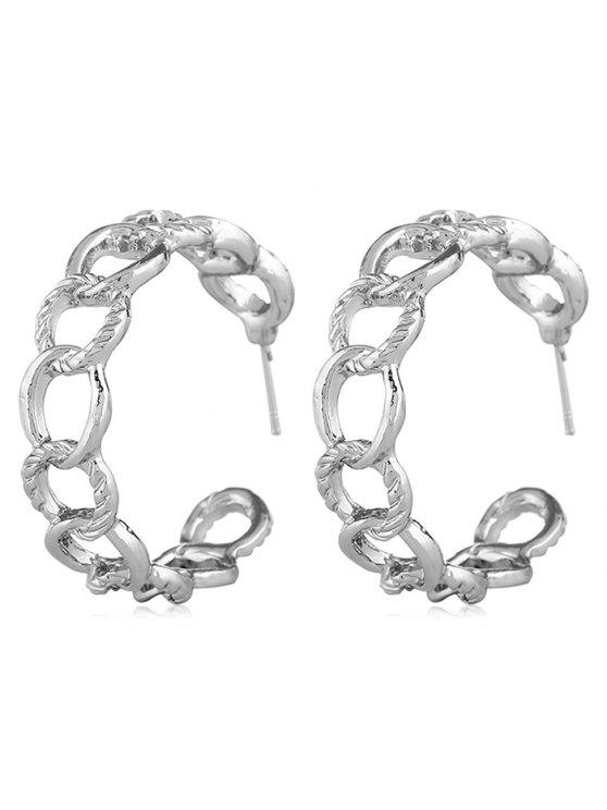 hot Geometric Loop Design Metal Earrings - SILVER