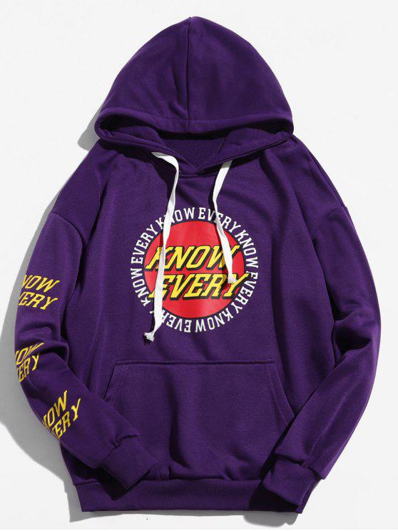 chic Letter Round Graphic Loose Hoodie - PURPLE 2XL