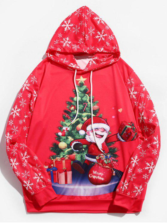 women Santa Claus Printed Drawstring Hoodie - ROSE RED 2XL