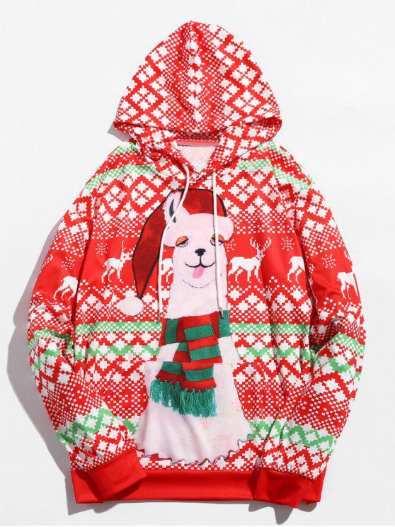 ladies Pullover Christmas Alpaca Printed Hoodie - MULTI XL