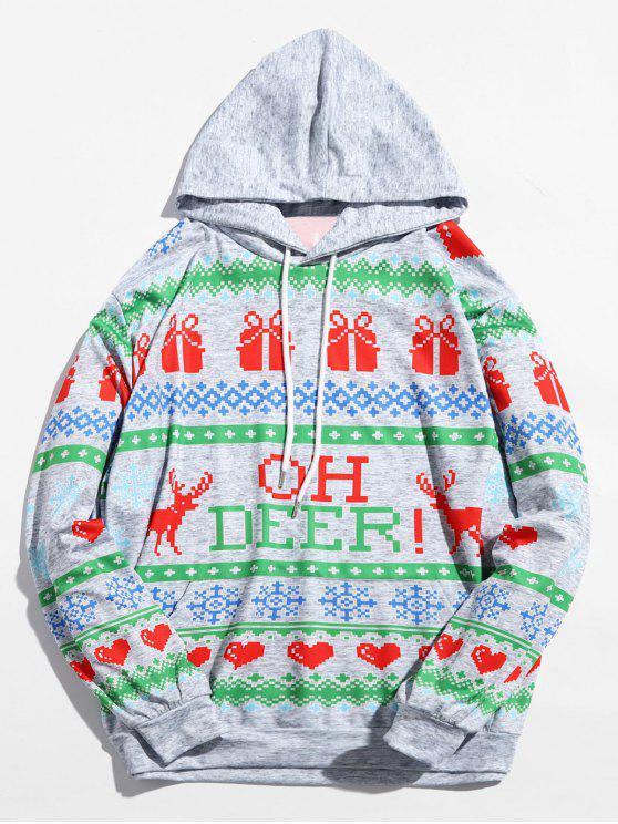 online Christmas Heart Printed Drwastring Hoodie - MULTI XL