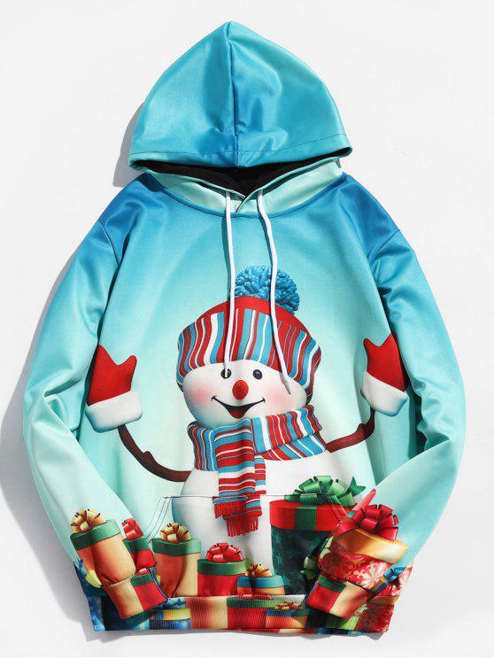 Felpa Con Cappuccio Pullover Stampata Pupazzo Di Natale - Mare Verde Leggero 2XL