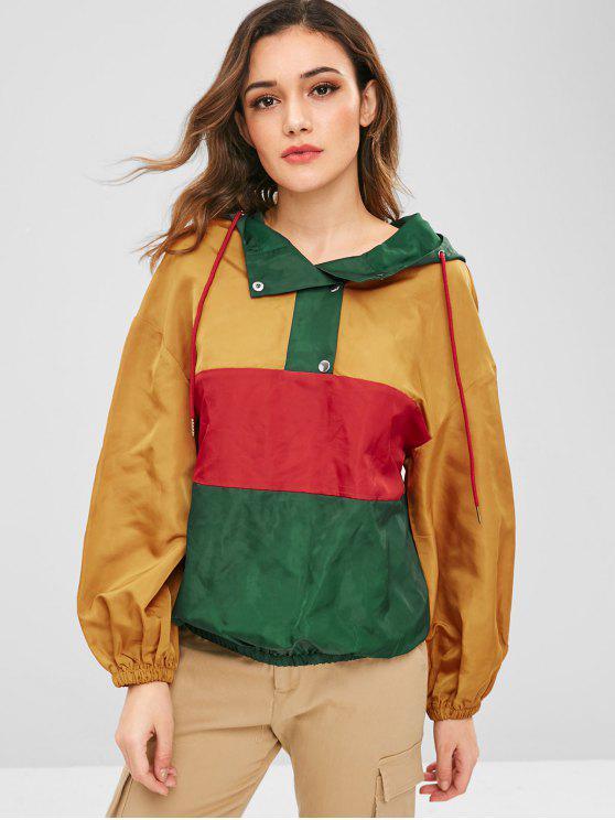 ZAFUL Contrast Loose Windbreaker Hoodie - Multicolor XL