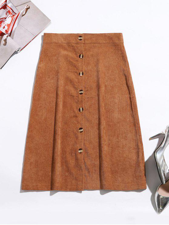 Button Up Corduroy Mid Calf Skirt - Caramelo L