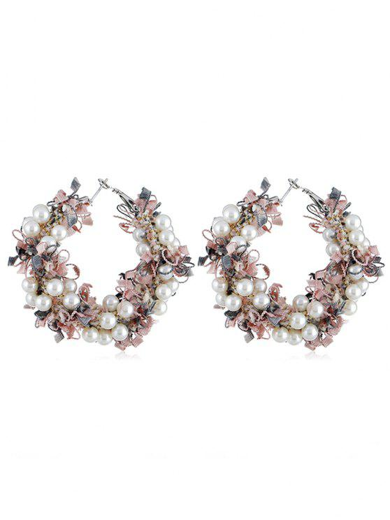 chic Statement Flower Decoration Artificial Pearl Earrings - LIGHT PINK