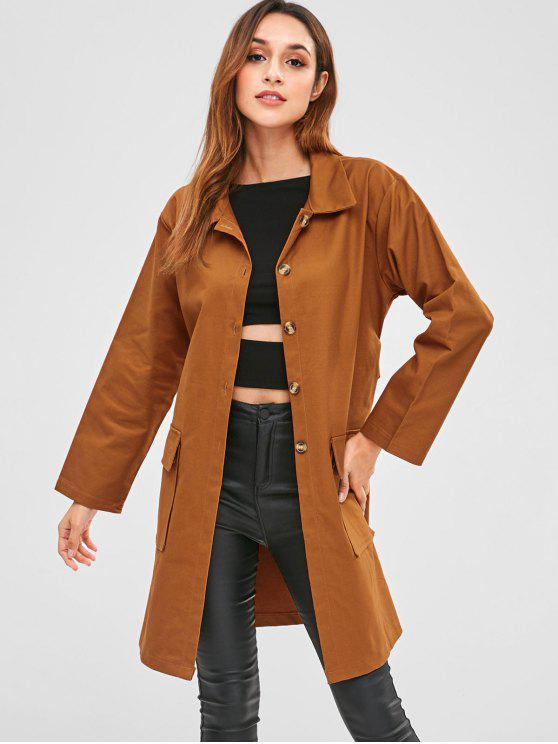 women Pockets Button Up Belted Coat - TIGER ORANGE M