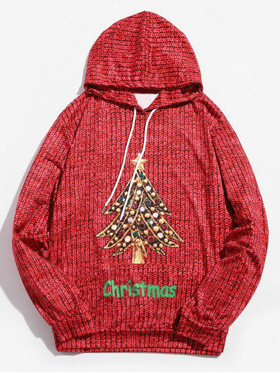 fashion Drawstring Christmas Diamond Tree Printed Hoodie - LAVA RED L