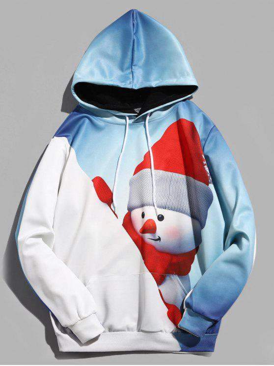unique 3D Christmas Snowman Print Pullover Hoodie - BLUE GRAY XL