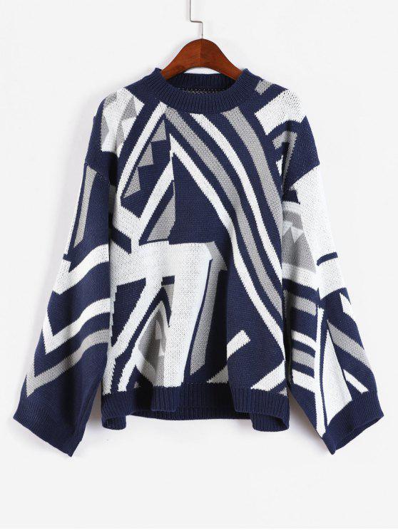 Suéter suelto con gráfico geométrico - Multicolor-B Talla única