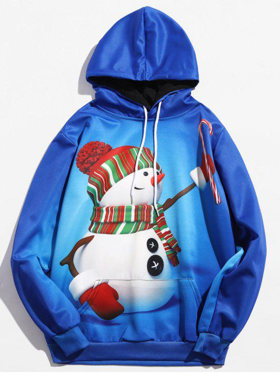shop Pullover 3D Christmas Snowman Printed Hoodie - OCEAN BLUE 2XL
