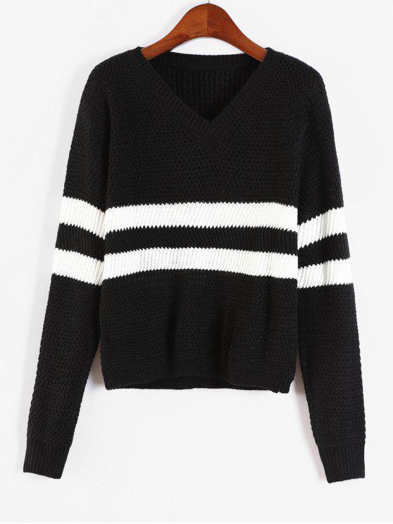 Kontrastierende Streifen V-Ausschnitt Pullover - Schwarz Eine Größe