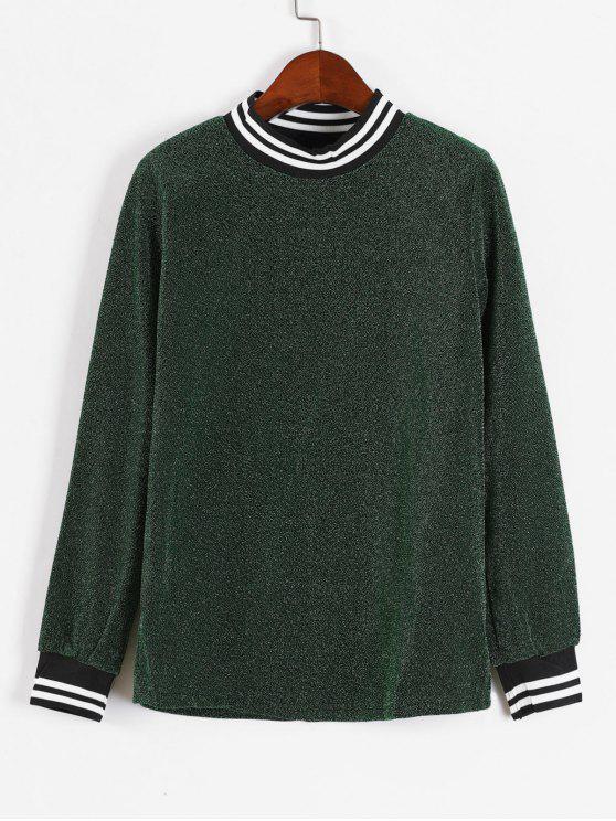 Glänzendes Streifen-Sweatshirt - Dunkelgrün L