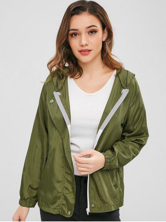 Plain Kapuzen-Jacke mit Reißverschluss - Armeegrün S