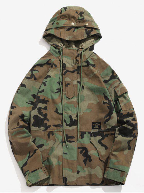 Bolsillos patchwork chaqueta de camuflaje con capucha - ACU Camuflaje S