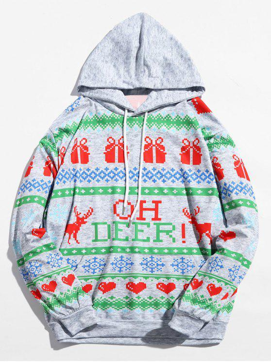 women Christmas Heart Printed Drwastring Hoodie - MULTI M