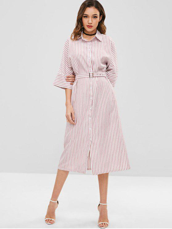 lady ZAFUL Striped Midi Shirt Dress with Belt - PINK M