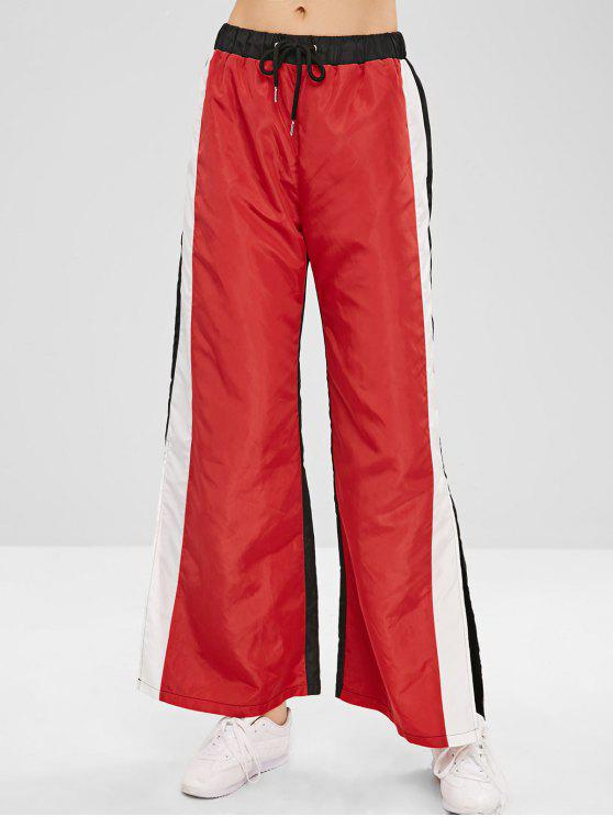 hot ZAFUL Wide Leg Color Block Slit Pants - RED XL