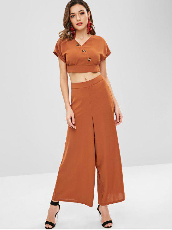 chic ZAFUL Buttons Top and Wide Leg Pants Set - LIGHT BROWN M