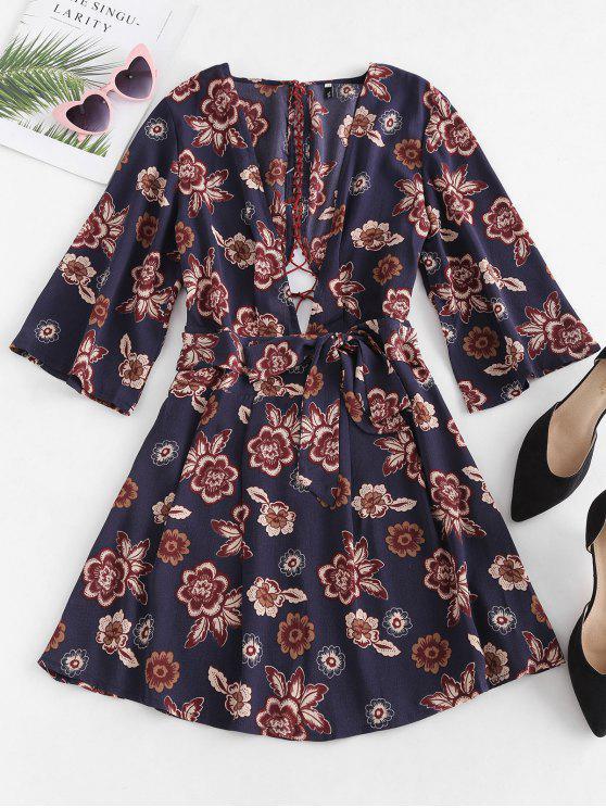 Vestido Low Cut Floral Lace-up - Multi S