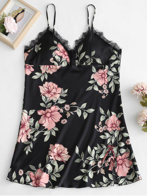 Vestido de noche cami estampado de flores acolchado - Negro XL