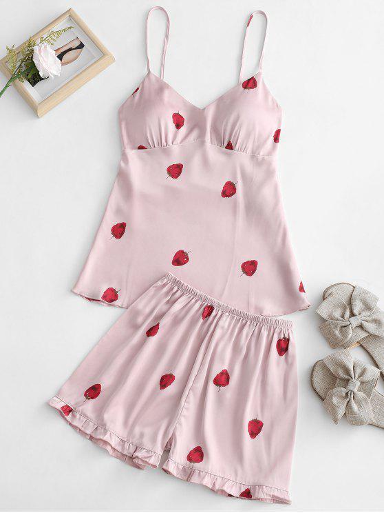 Conjunto de pijamas con estampado de fresas satinadas - Rosa Claro M