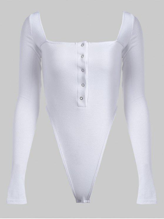 Druckknopf Langarm Body - Weiß M