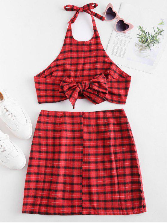 Conjunto de falda y top con cuello halter a cuadros - Multicolor XL