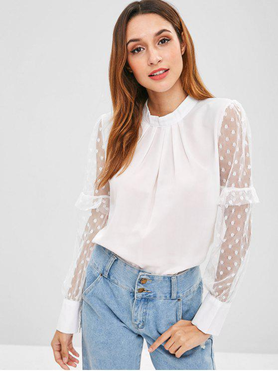best Dotted Tulle Sleeve Top - WHITE XL