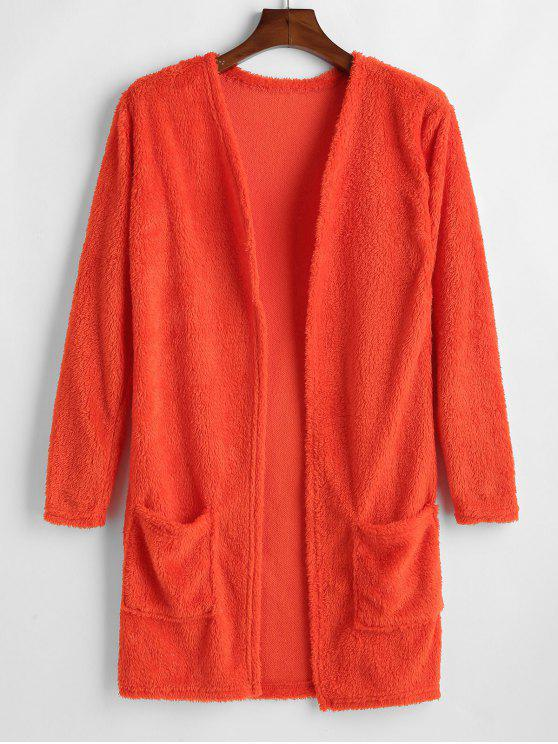 Bolsillo abierto frontal mullido abrigo - Naranja Papaya S