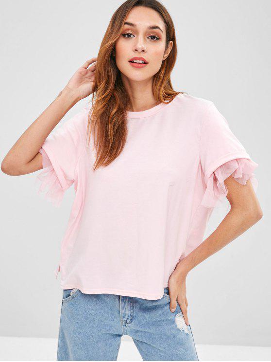Tülleinsatz Kurzarm T-Shirt - Pink L