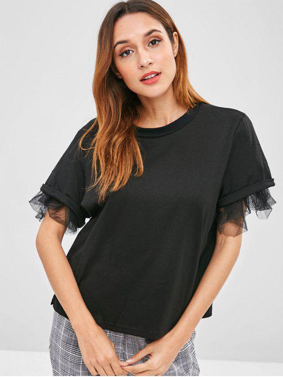 T-Shirt A Maniche Corte Con Inserti In Tulle - Nero XL
